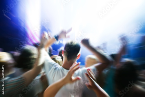 People hands up on music concert, disco party.