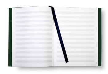 Empty book with pentagrams or score.