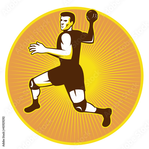 Handball Player Jumping Throwing Ball Scoring Retro