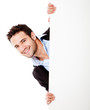 Happy businessman with banner