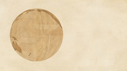 Animation of a brown paper Earth, rotating on paper background.