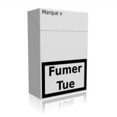 Paquet Cigarettes marque x fond blanc