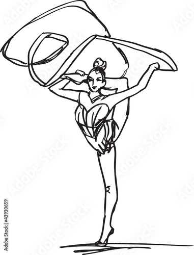 Sketch of woman rhythmic gymnastics art dancer. Vector illustrat