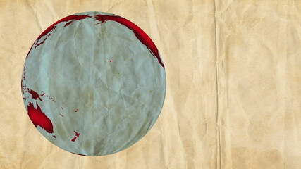 Animation of a paper Earth, rotating on a crumpled background.