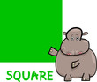 square shape with cartoon hippo