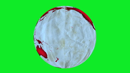 Animation of Earth made of paper, rotating on green screen.