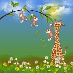 monkeys and giraffe