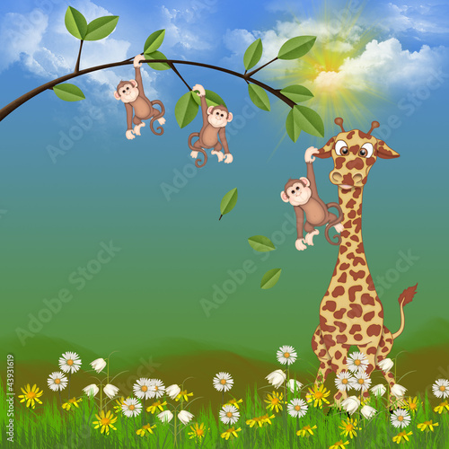 monkeys and giraffe