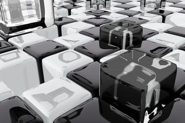 Composición abstracta con cubos blancos y negros