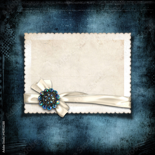 Grunge navy background with card for your photo or text
