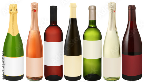 7x wein & sekt incl. clipping path