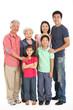 Full Length Studio Shot Of Multi-Generation Chinese Family