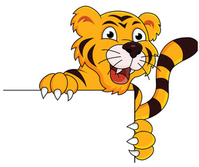 Tiger cartoon with blank sign