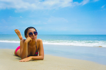 Woman Sun Tanning
