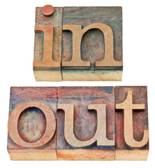 in and out word in wood type