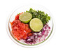 Ingredients for fresh salsa in clear bowl