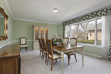 Dining room with lime green walls