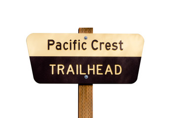 Pacific Crest Trail sign on post isolated