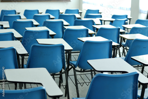Interior of a college in empty lecture hall