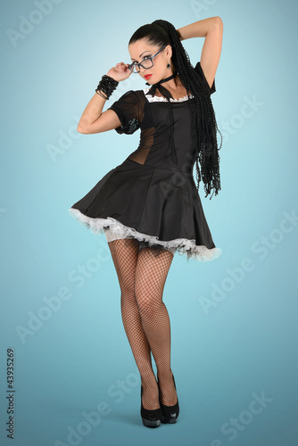 Beautiful sexy french maid with glasses
