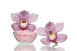 Two pink orchid, salt for bath isolated the flower.