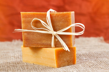 natural handmade soap tied with a ribbon