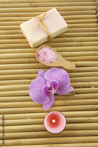 Spa objects on bamboo mat