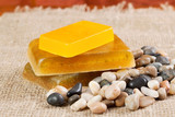 handmade soap and sea pebbles