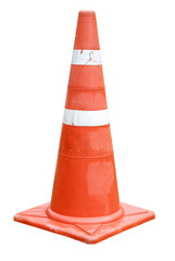 Traffic cone for road works isolated on white background