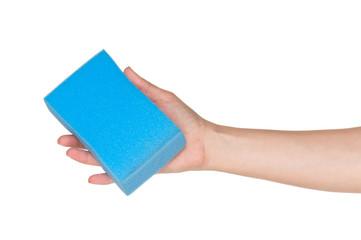 Hand with kitchen sponge