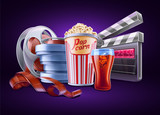 Movie, cinema: popcorn, soda, film stale, roll, container