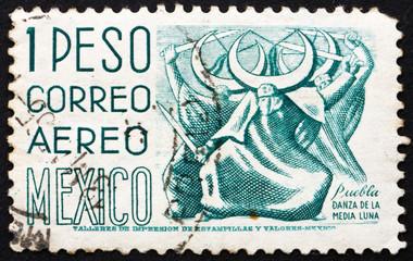 Postage stamp Mexico 1950 Puebla, Dance of the Half Moon
