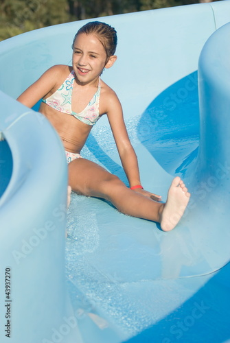 Girl on a water slide