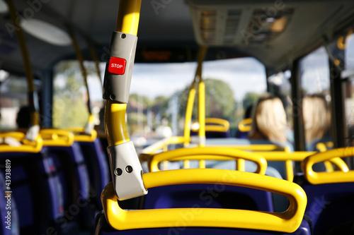 Plexiglas Londen rode bus Bus Stop Button