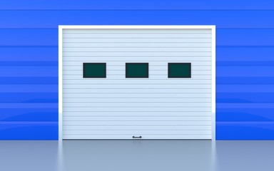 Industrial door or garage door blue panels wall