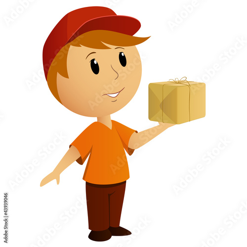 Cartoon delivery boy with package