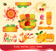 set of design elements on juices, fruit