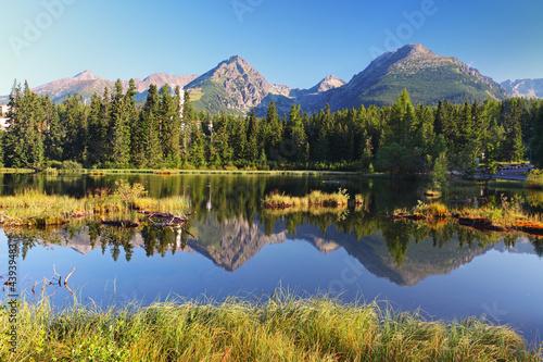 Fototapeten,berg,see,sommer,slowakei fahne