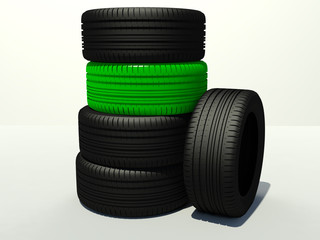 tire four pieces and one green