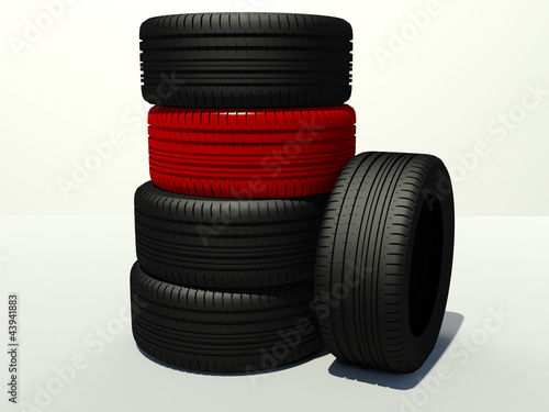 tire four pieces and one red