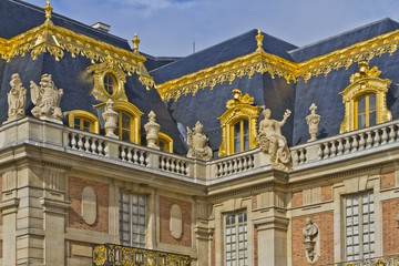 Front facade of Famous palace Versailles. Paris, France.