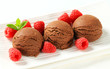 Chocolate ice cream with fresh raspberries