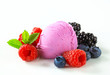 Fruit ice cream with fresh mixed berries