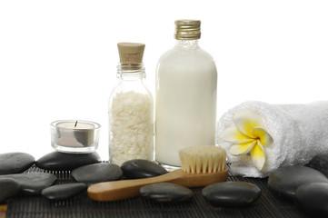 spa accessories on zen stones background