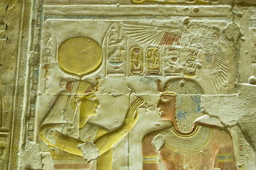 Hathor passing the Ankh to Seti
