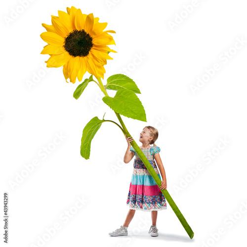 Muttertag - Mädchen mit großer Sonnenblume