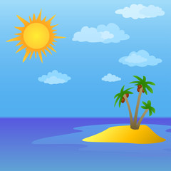 Sun and island with palm trees
