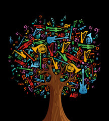 Abstract musical tree made with instruments © cienpiesnf