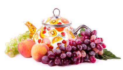 Beautiful teapot with fruits
