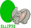 ellipse shape with cartoon elephant